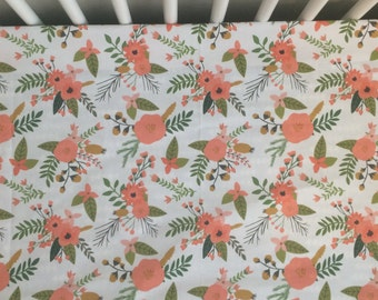 Changing pad cover or fitted crib sheet in coral Springs  Pack and Play sheet, mini crib sheet
