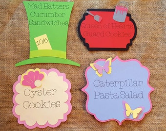 Alice in wonderland/mad hatter tea party food labels