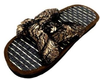 Glamorous Bronze Faux Mink Fur Sandals