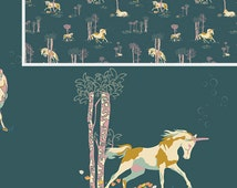 Unicorn Fabric | Fantasia Fabric | Horse | Unicorn Print | Art Gallery Fabrics | Horse Fabric | Fairy Tale | Enchanted Forest Print, Fantasy