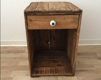 Sandman XXL-large bedside table made of old wine crates