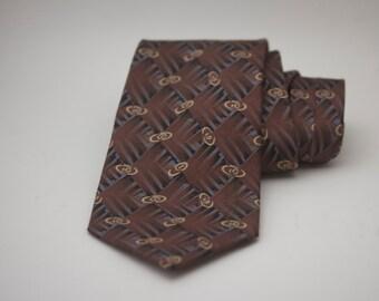 Vintage Halston Mens Silk Tie, Mens Necktie, Hipster Clothing, Brown Necktie, Halston Necktie, Made in USA, Silk Necktie, Vintage Mens Tie