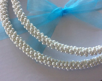 Stefana Greek Wedding Crowns. Premium white glass pearls.