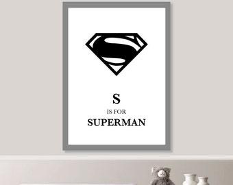 S is for Superman Nursery Print // Minimalist Poster // Wall Art Poster // Nursery Poster // Typography Poster // Minimal Poster // Baby