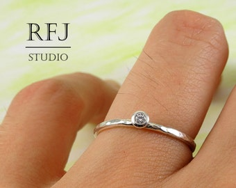 Textured Lab Diamond Silver Ring, Cubic Zirconia  2 mm Tiny Texture Ring Simulate White Diamond CZ Stacking Hammered Ring 925 Silver Ring