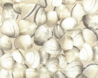 "Ocean Fabric, Clam Fabric: Maine Attraction Oh Shucks Clam on Cream by Kanvas 100% cotton fabric by the yard 36""x43"" (M200)"