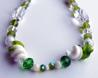 Green Twist Beaded Necklace