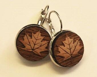 Maple leaf wooden drop earrings