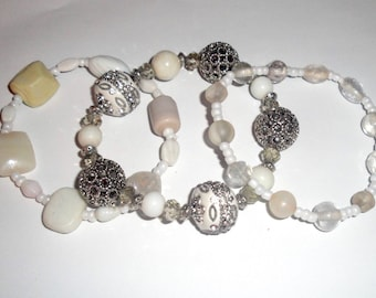 White and Silver Layered Bracelets