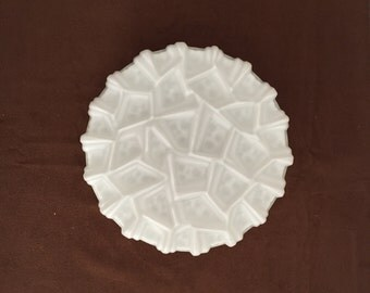 Retro plafonniere wit melkglas vintage white glass ceilinglamp