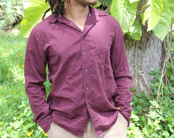 Forever21 Mens Maroon Long Sleeve Button Up