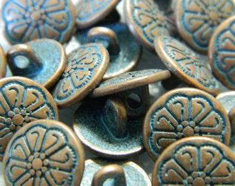 Antique Copper Metal Button - Copper Tone Metal Shank Button with Aged Blue Patina - 2 Buttons Per Order