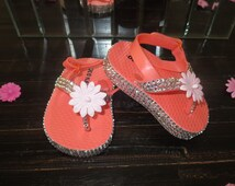 Infant Toddler Girls Silver Crystal Rhinestone Bling Bright Coral Pink Flip Flop Beach Sandals With Flower