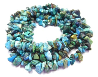 "Arizona Turquoise Natural Gemstone Chip Beads 34"" Long Strand jewellery making Chip Beads Ab-10"