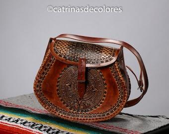 Aztec Tooled Leather Purse