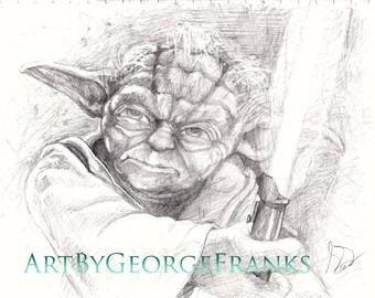 Yoda star wars drawing jedi master drawing print