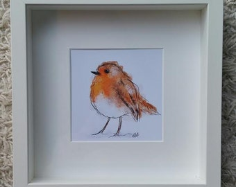Framed robin print // robin gifts // robin decoration // robin home decor // robin christmas decor // robin painting // robin illustration