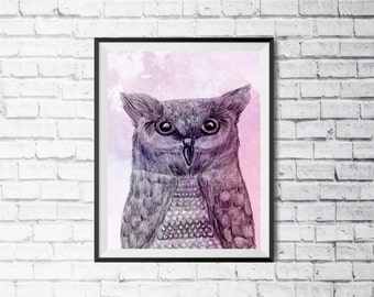 Owl Watercolour Print, Wall Art, Home Decor, Modern, Colourful Art