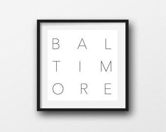 Black and White Digital Print of Baltimore