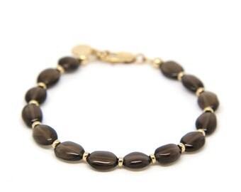 Smokey Quartz gemstone bracelet.