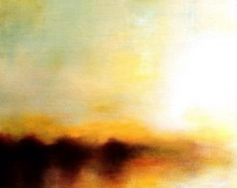 Light Yellow River Reflection. Landscape Painting by Michelle Tholen
