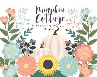 Fall Floral  and  Pumpkin Clipart,