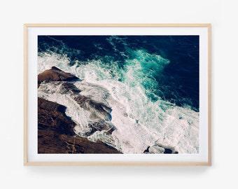 Ocean Photography Print, Printable Wall Art, Photography Art Print, Ocean, Digital Download, Water, Waves, Coastal Photography, Ocean Blue