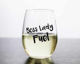 Boss Lady Fuel Stemless Wine Glass - Boss Babe Fuel Stemless Wine Glass - Gift for Her - Personalized Wine Glass - Girl Boss Gift