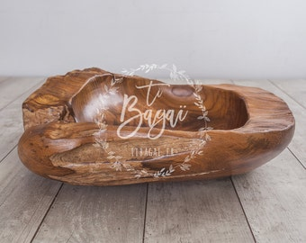Large wooden bowl newborn photography props