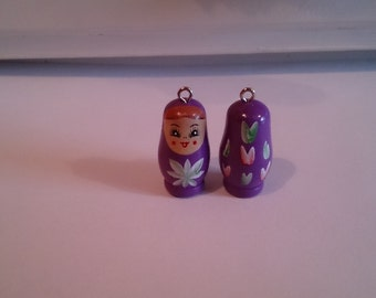 Babushka (Russian Doll) 1 1/4 inch high pendant/figurine in purple