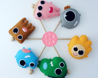 Lovely Monsters, Baby Mobile, Baby Crib, Nursery Mobile