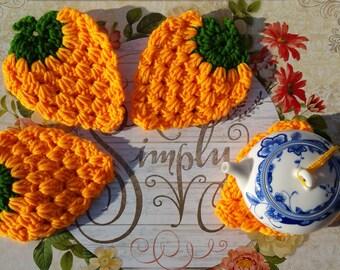 Bright Orange Strawberry Coasters, Handmade Coasters, Crochet Coasters, Drink Coasters, Doilies, Coffee Coasters, Tea Coasters, Housewarming