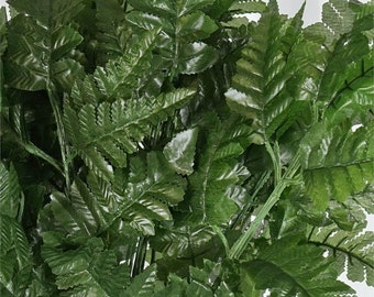 50 Pieces Green Fern 5 pieces on stem