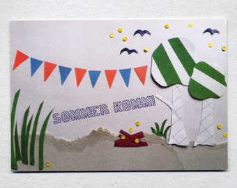 Postcard for the summer with camp fire and pennant