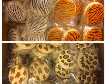 Zoo Animal Print Zebra Cheetah Giraffe Tiger Cookies - 1 Dozen (12 Cookies)