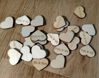 Mr and Mrs Wooden Heart Confetti, Wedding Decoration, Table Decoration, Scrapbooking, Crafting, Supplies