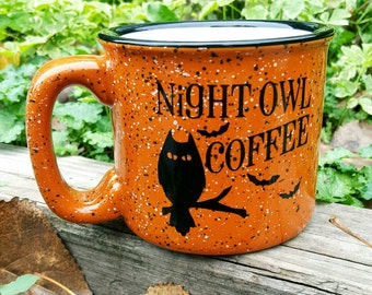 "15 Ounce ""Night Owl Coffee"" Halloween Campfire Mug"
