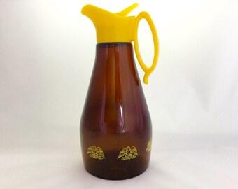 Vintage Log Cabin Syrup brown glass carafe, 1970's
