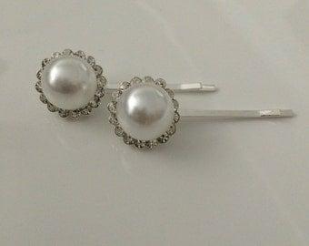 Pear ans crystal hair clips / bride clips / wedding hair clips