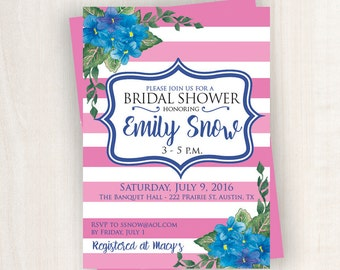 Pink Strips Bridal Shower Invitation With Professional Printing Service   Bridal Shower Printable   5x7 Custom Bridal Shower Invitation
