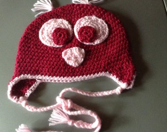 Bordeauxfarbene baby OWL Hat