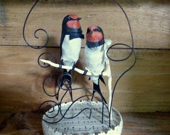 Couple of swallows - Cake topper - Decoration cake - papier-mache
