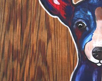 """Chihuahua Barn wood art 8""""x8"""""""