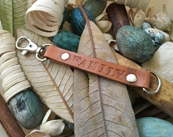 "Ready-to-Ship, Hand-Stamped, Saddle Brown, Vegetable-Tanned, Leather ""FAMILY"" Key Fob, Key Chain, Key Ring, Lanyard, Purse Charm, Bag Charm"