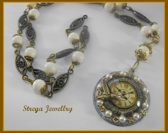 Steampunk necklace clock time flies brass
