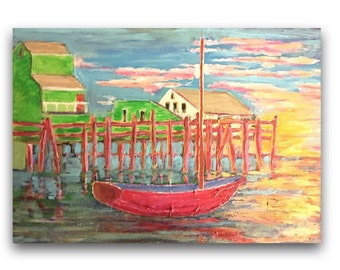 Provincetown Pier (Acrylic on 18x24 wood panel)