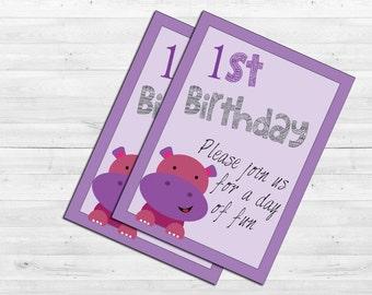 Happy Hippo Invitation pink