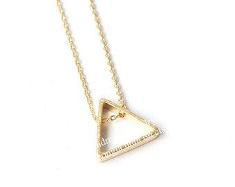 Outline Triangle Necklace, Triangle Necklace, Triangle Jewelry