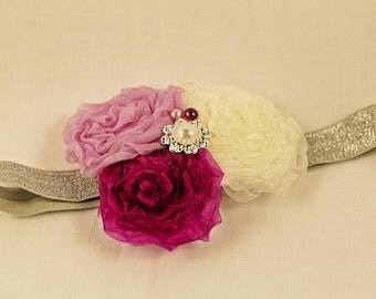3 in 1 Headband, bruidmeisje haarband, Elastiek Haarband, Baby Girl headband, flower girl headband, wedding headband, doop haarband