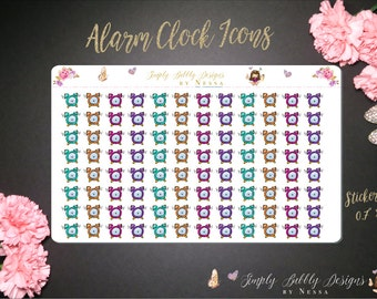 Alarm Clock Functional Icons - Planner Stickers
